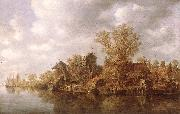 Jan van Goyen Village at the River oil painting picture wholesale